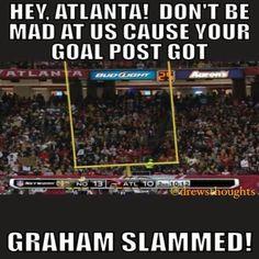 Saints Jimmy Graham Slammed The Falcons Gold Post...Lol! falcon