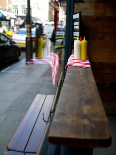 """Herman Ze German. Bratwurst hotdogs, """"future fries"""" and beers in Soho. Really great little relaxed diner."""
