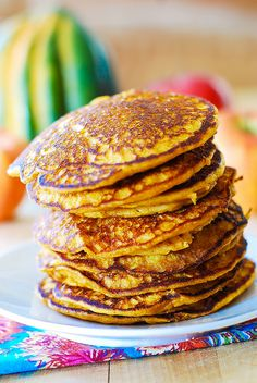 Easy pumpkin pancakes, Thanksgiving breakfast recipes by JuliasAlbum.com, via Flickr