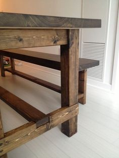 Stunning farmhouse table and bench created for a small narrow space.