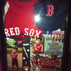 Shadow box for my sons 1st baseball team, he was 3 yrs old.