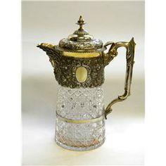 Victorian Silver & Glass Claret Jug London 1888 Wine Decanter / Jug