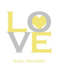 yellow & gray love printable