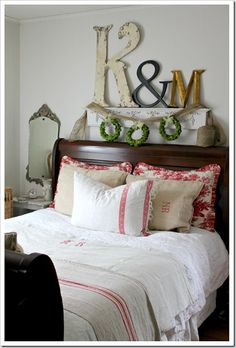 "Love the idea of a ""mini mantle"" above the bed"