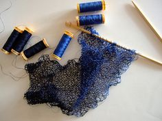 Knitting With Sewing Thread (Here - two strands on #5 needles)