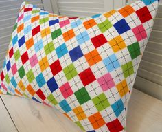 theredpistachio - throw pillow cover - rainbow argyle