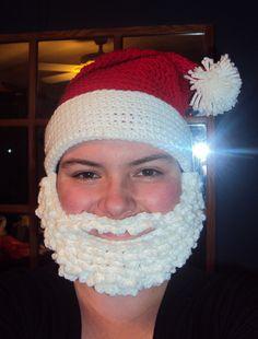 santa hat, pattern found here:  http://www.redheart.com/free-patterns/santa-hat-and-beard