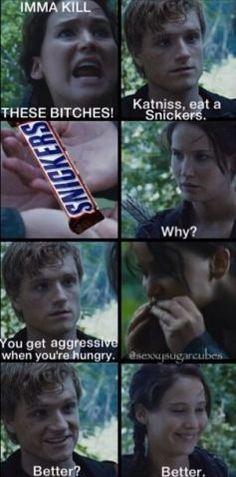 Lol haha funny pics / pictures / Katniss / Peeta / Snickers / Hunger Games Humor