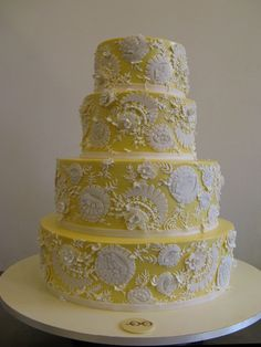 Beautiful Yellow & White Tiered Wedding Cake Picture