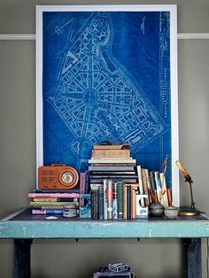 Rod Hipskind uncovered this 1940s blueprint of San Francisco's famed Parkmerced neighborhood at the Alemany Flea Market. A friend fashioned the glassless frame out of wood trim.