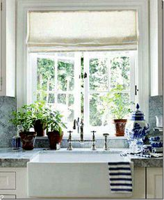 window. Farm sink. Blue and white.#Repin By:Pinterest++ for iPad#