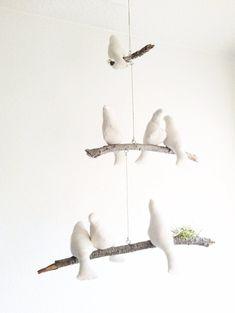 Bird Mobile / Natural / Cream / Linen