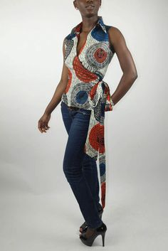Sleeveless Wrap Top in African Print