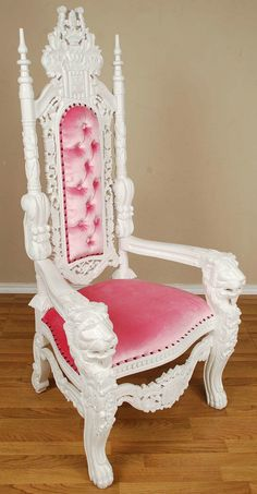 5' Carved Mahogany Queen Lion Gothic Throne Chair White Paint with Pink Velvet | eBay $795