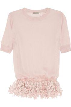 Shop now: Nina Ricci Lace-trimmed silk top SALE