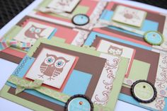 Owl Greeting Card Set with Bottle Cap accent by tonitanksley, $15.00