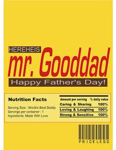 Free Printable-Father's Day Candy Bar Wrapper.. Cute
