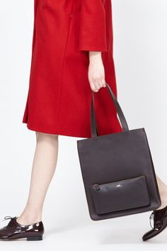 A.P.C. Leather Tote with Pocket (Chestnut Brown) $720