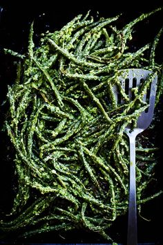 Roasted Green Beans with Vinegary Dill Sauce   ourfourforks.com