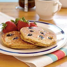 Blueberry Pancakes Recipe - half AP Flour and half Whole Wheat Flour.