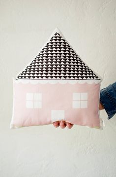 House Shaped Cushion Pink by Plumed