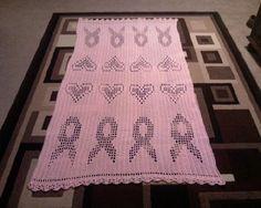 crochet awar, breast cancer, cancer awareness, awar throw