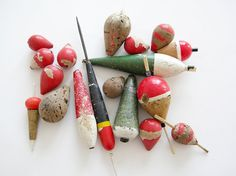 vintage fishing bobbers 18 cork and wooden bobbers. $30.00, via Etsy.