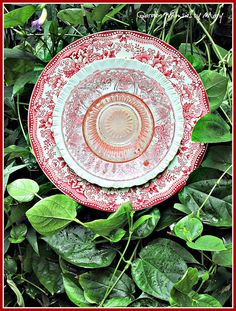 Red Toile Plate Flower Garden Stake  As by GardenWhimsiesByMary, $40.00