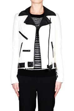 Theo Jacket - WHITE BLACK | ALC #ALC #leatherjacket #bikerjacket