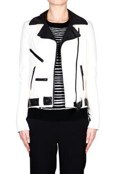 Theo Jacket - WHITE BLACK | ALC #ALC #leatherjacket #bikerjacket