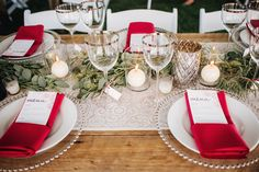 eucalyptus table runner, photo by David Guenther http://ruffledblog.com/leduc-stone-barn-wedding #weddingideas #tablescape