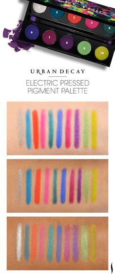 We swatched @Urban Decay Electric Pressed Pigment Palette to see how the colors looked on different skintones. What do you think?