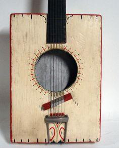 Rare Early Antique Home Made Folk Art Guitar