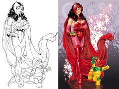 Scarlet Witch litho for statue.