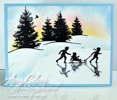 Yes, I know… deja vu all over again! I added the skaters and their reflection to a very similar card that I did last December. The skaters are from the 'Welcome Christmas' stamp set (view it here). I saw the reflection technique done by simply stamping a piece of acetate in 'Going Gray' ink and …