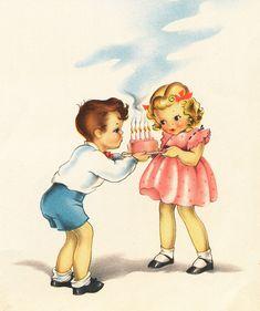 Vintage illustration: children with birthday cake