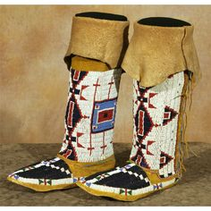 Sioux Woman's Beaded Moccasins and Leggings