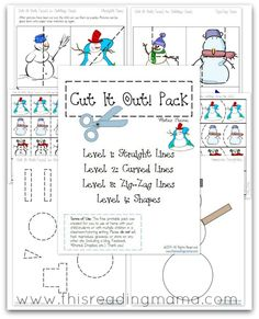 FREE Cutting Practice Pack {Winter Cut it Out!} - 4 different levels of cutting practice: straight lines, curvy lines, zig-zag lines, and shapes | This Reading Mama