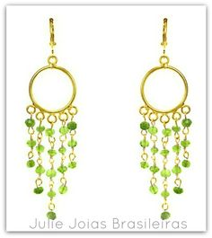 Brincos em ouro 750/18k e peridoto (750/18k gold earrings with peridote)