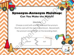FREE Synonym-Antonym Matchup (Countdown to Christmas - Day 20) from 3rd Grade Gridiron on TeachersNotebook.com (7 pages)  - This 7-page activity is a great way to help your kids practice synonyms and antonyms.  The kids will match each synonym to its correct antonym.