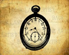 Vintage Pocket Watch Clipart Lineart by BackLaneArtist on Etsy,