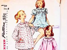 1950s Girls Pajama Pattern size 8 Girls Pjs or Nightgown Sewing Pattern in two lengths by PatternsFromThePast