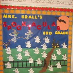 3rd grade bulletin board for Halloween made during my student teaching!