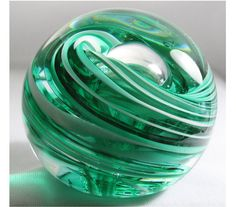 Green and White Paperweight Handmade Glass