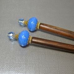 Blue Hair Sticks Prom Hair Accessories by BluKatDesign on Etsy
