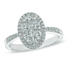 1 CT. T.W. Composite Oval Diamond Frame Engagement Ring in 14K White Gold