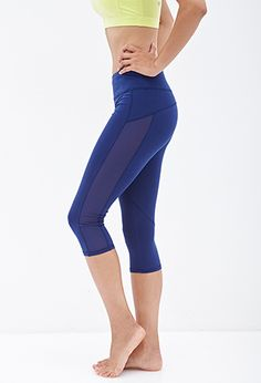 Power-Mesh Paneled Capris | FOREVER21 - 2000101536
