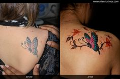 Butterfly with flowers (Extension Tattoo), Designed and Inked by Sunny at Aliens Tattoo, Mumbai. Client got the original butterfly done from Bangkok but she was not happy with the output. She wanted us to rework on her tattoo and also extend it. Did a freehand work on her and here is the output. Hope you all liked the tattoo