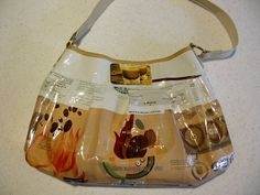 Purse made from recycled Starbucks coffee bags.
