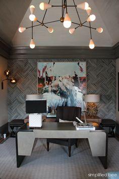 San Francisco Decorator Showcase retreat // Kelly Hohla of Jeffers Design Group #desk #herringbone #wallpaper #chandelier